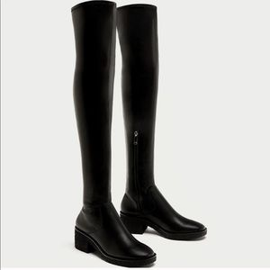 Zara Flat Lug Sole Over Knee Boots